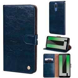 Luxury Retro Oil Wax PU Leather Wallet Phone Case for Huawei Mate 10 Lite / Nova 2i / Horor 9i / G10 - Sapphire
