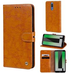 Luxury Retro Oil Wax PU Leather Wallet Phone Case for Huawei Mate 10 Lite / Nova 2i / Horor 9i / G10 - Orange Yellow