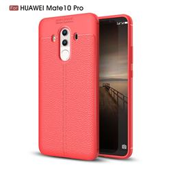 Luxury Auto Focus Litchi Texture Silicone TPU Back Cover for Huawei Mate 10 Pro(6.0 inch) - Red