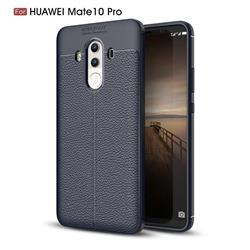 Luxury Auto Focus Litchi Texture Silicone TPU Back Cover for Huawei Mate 10 Pro(6.0 inch) - Dark Blue