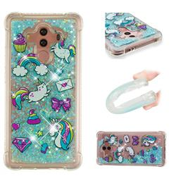Fashion Unicorn Dynamic Liquid Glitter Sand Quicksand Star TPU Case for Huawei Mate 10 Pro(6.0 inch)
