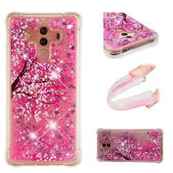 Pink Cherry Blossom Dynamic Liquid Glitter Sand Quicksand Star TPU Case for Huawei Mate 10 Pro(6.0 inch)