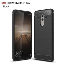 Luxury Carbon Fiber Brushed Wire Drawing Silicone TPU Back Cover for Huawei Mate 10 Pro(6.0 inch) - Black
