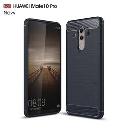 Luxury Carbon Fiber Brushed Wire Drawing Silicone TPU Back Cover for Huawei Mate 10 Pro(6.0 inch) - Navy