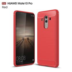 Luxury Carbon Fiber Brushed Wire Drawing Silicone TPU Back Cover for Huawei Mate 10 Pro(6.0 inch) - Red