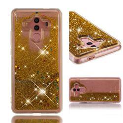 Dynamic Liquid Glitter Quicksand Sequins TPU Phone Case for Huawei Mate 10 Pro(6.0 inch) - Golden