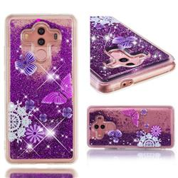 Purple Flower Butterfly Dynamic Liquid Glitter Quicksand Soft TPU Case for Huawei Mate 10 Pro(6.0 inch)
