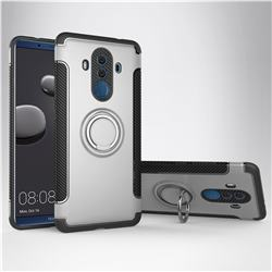 Armor Anti Drop Carbon PC + Silicon Invisible Ring Holder Phone Case for Huawei Mate 10 Pro(6.0 inch) - Silver