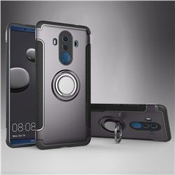 Armor Anti Drop Carbon PC + Silicon Invisible Ring Holder Phone Case for Huawei Mate 10 Pro(6.0 inch) - Grey