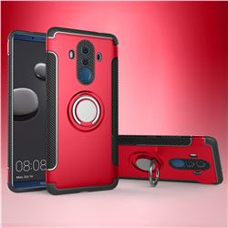 Armor Anti Drop Carbon PC + Silicon Invisible Ring Holder Phone Case for Huawei Mate 10 Pro(6.0 inch) - Red