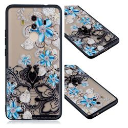 Lilac Lace Diamond Flower Soft TPU Back Cover for Huawei Mate 10 Pro(6.0 inch)