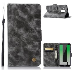 Luxury Retro Leather Wallet Case for Huawei Mate 10 Pro(6.0 inch) - Gray