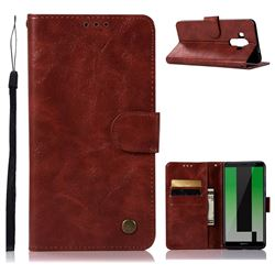 Luxury Retro Leather Wallet Case for Huawei Mate 10 Pro(6.0 inch) - Wine Red