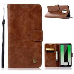 Luxury Retro Leather Wallet Case for Huawei Mate 10 Pro(6.0 inch) - Brown