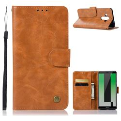 Luxury Retro Leather Wallet Case for Huawei Mate 10 Pro(6.0 inch) - Golden