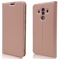 Ultra Slim Card Magnetic Automatic Suction Leather Wallet Case for Huawei Mate 10 Pro(6.0 inch) - Rose Gold