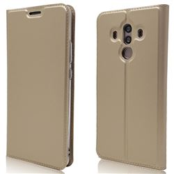 Ultra Slim Card Magnetic Automatic Suction Leather Wallet Case for Huawei Mate 10 Pro(6.0 inch) - Champagne