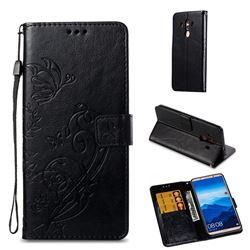 Embossing Butterfly Flower Leather Wallet Case for Huawei Mate 10 Pro(6.0 inch) - Black