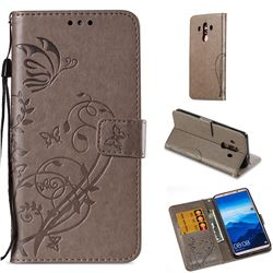 Embossing Butterfly Flower Leather Wallet Case for Huawei Mate 10 Pro(6.0 inch) - Grey