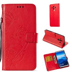 Embossing Butterfly Flower Leather Wallet Case for Huawei Mate 10 Pro(6.0 inch) - Red