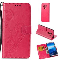 Embossing Butterfly Flower Leather Wallet Case for Huawei Mate 10 Pro(6.0 inch) - Rose