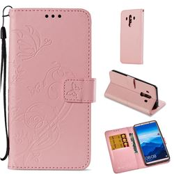 Embossing Butterfly Flower Leather Wallet Case for Huawei Mate 10 Pro(6.0 inch) - Pink