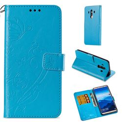 Embossing Butterfly Flower Leather Wallet Case for Huawei Mate 10 Pro(6.0 inch) - Blue
