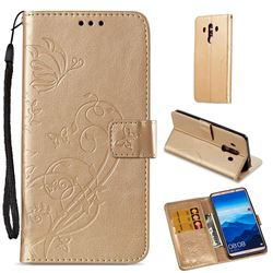 Embossing Butterfly Flower Leather Wallet Case for Huawei Mate 10 Pro(6.0 inch) - Champagne