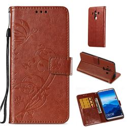 Embossing Butterfly Flower Leather Wallet Case for Huawei Mate 10 Pro(6.0 inch) - Brown