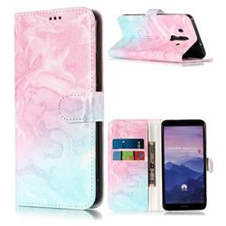 Pink Green Marble PU Leather Wallet Case for Huawei Mate 10 Pro(6.0 inch)