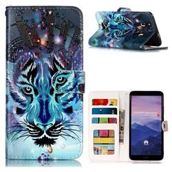 Ice Wolf 3D Relief Oil PU Leather Wallet Case for Huawei Mate 10 Pro(6.0 inch)