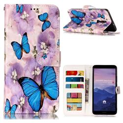 Purple Flowers Butterfly 3D Relief Oil PU Leather Wallet Case for Huawei Mate 10 Pro(6.0 inch)