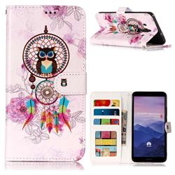 Wind Chimes Owl 3D Relief Oil PU Leather Wallet Case for Huawei Mate 10 Pro(6.0 inch)