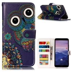 Folk Owl 3D Relief Oil PU Leather Wallet Case for Huawei Mate 10 Pro(6.0 inch)