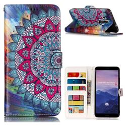 Mandala Flower 3D Relief Oil PU Leather Wallet Case for Huawei Mate 10 Pro(6.0 inch)