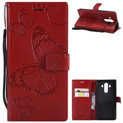 Embossing 3D Butterfly Leather Wallet Case for Huawei Mate 10 Pro(6.0 inch) - Red