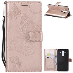 Embossing 3D Butterfly Leather Wallet Case for Huawei Mate 10 Pro(6.0 inch) - Rose Gold