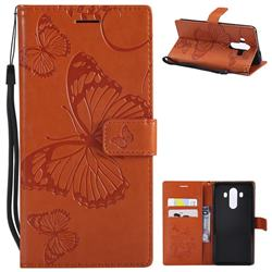 Embossing 3D Butterfly Leather Wallet Case for Huawei Mate 10 Pro(6.0 inch) - Orange