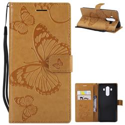 Embossing 3D Butterfly Leather Wallet Case for Huawei Mate 10 Pro(6.0 inch) - Yellow