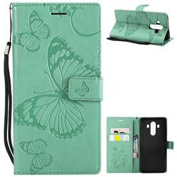 Embossing 3D Butterfly Leather Wallet Case for Huawei Mate 10 Pro(6.0 inch) - Green