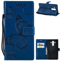 Embossing 3D Butterfly Leather Wallet Case for Huawei Mate 10 Pro(6.0 inch) - Blue