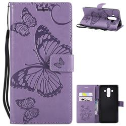 Embossing 3D Butterfly Leather Wallet Case for Huawei Mate 10 Pro(6.0 inch) - Purple