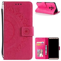 Intricate Embossing Datura Leather Wallet Case for Huawei Mate 10 Pro(6.0 inch) - Rose Red