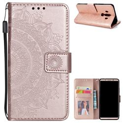 Intricate Embossing Datura Leather Wallet Case for Huawei Mate 10 Pro(6.0 inch) - Rose Gold