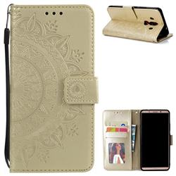 Intricate Embossing Datura Leather Wallet Case for Huawei Mate 10 Pro(6.0 inch) - Golden
