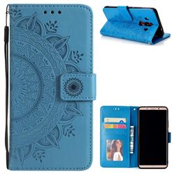 Intricate Embossing Datura Leather Wallet Case for Huawei Mate 10 Pro(6.0 inch) - Blue