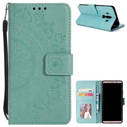 Intricate Embossing Datura Leather Wallet Case for Huawei Mate 10 Pro(6.0 inch) - Mint Green