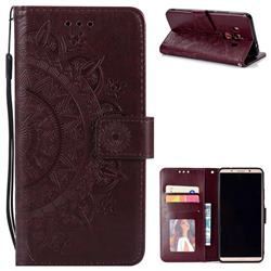 Intricate Embossing Datura Leather Wallet Case for Huawei Mate 10 Pro(6.0 inch) - Brown