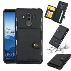 Brush Multi-function Leather Phone Case for Huawei Mate 10 Pro(6.0 inch) - Black