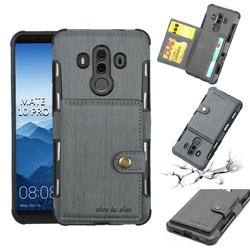 Brush Multi-function Leather Phone Case for Huawei Mate 10 Pro(6.0 inch) - Gray